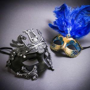 Roman Greek Emperor Pegasus Feather Couple Masks